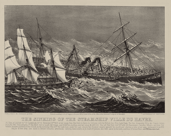 "Illustration: ""The Sinking of the Steamship Ville du Havre"" by Currier & Ives, c.1873"