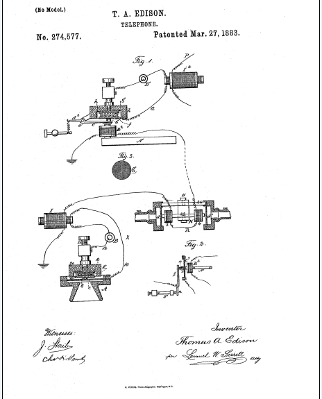 drawing of the telephone design patented to Thomas Edison on 27 March 1883