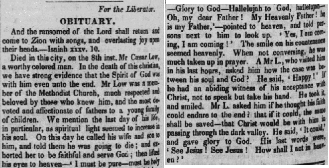 obituary for Caesar Low, Liberator newspaper article 29 October 1831