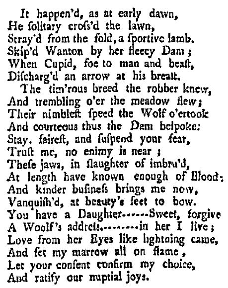 a love poem, New-York Evening Post newspaper article 10 April 1749