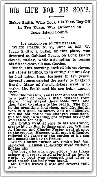 article about W. Isaac Smith drowning while strying to save his son, New York Herald newspaper article 24 June 1895