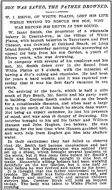 article about W. Isaac Smith drowning while trying to save his son, New York Herald Tribune newspaper article 24 June 1895
