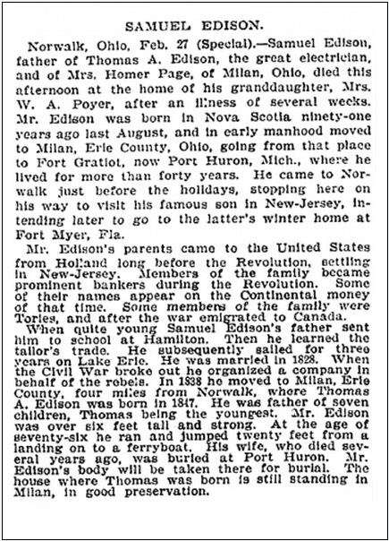 obituary for Samuel Edison, New York Tribune newspaper article 27 February 1896