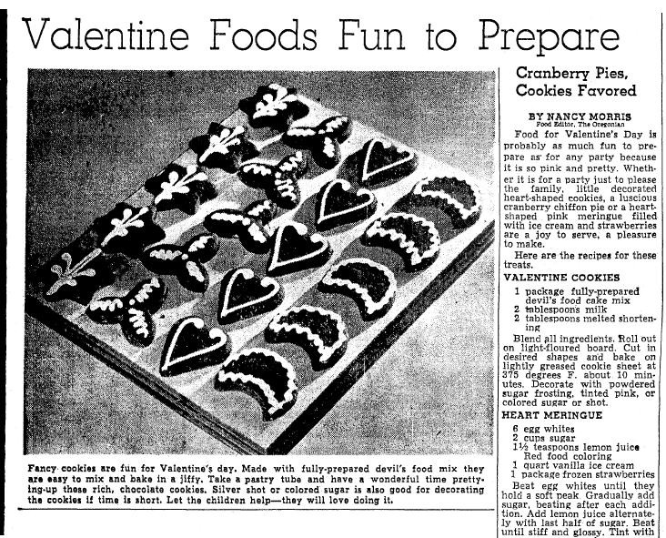 Valentine Foods Fun to Prepare, Oregonian newspaper article 12 February 1951