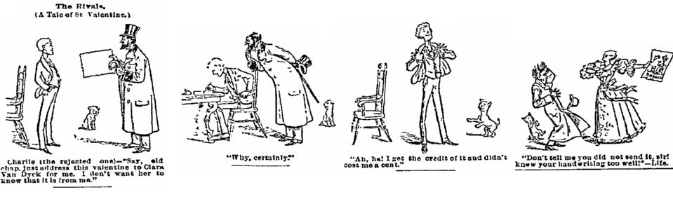 Valentine's Day cartoon, Philadelphia Inquirer newspaper cartoon 25 February 1894