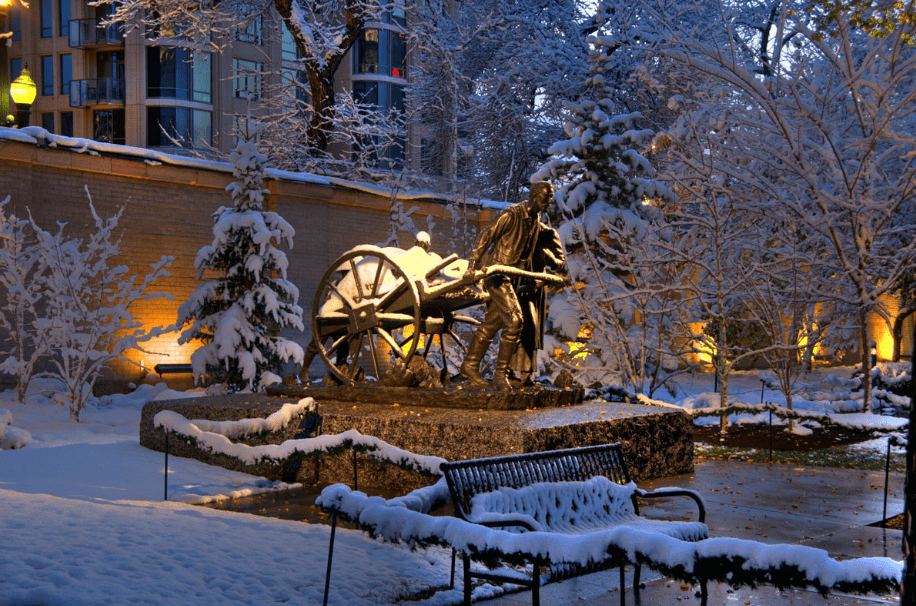 photo of the Handcart Pioneer Monument, inside Temple Square, Salt Lake City, Utah