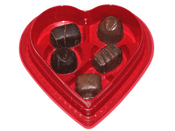 Photo: a heart-shaped box of chocolates for Valentine's Day