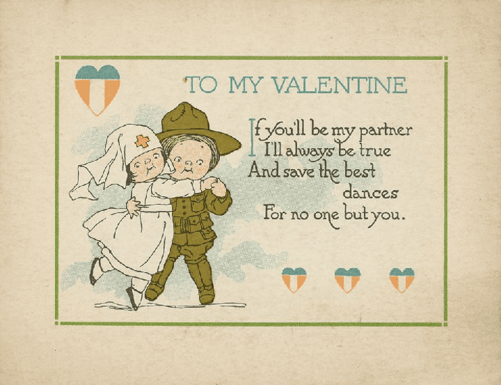 photo of an early Valentine's Day card, c.1919