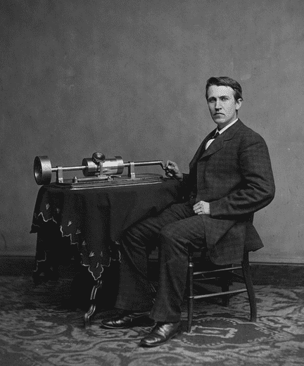 photo of Thomas Edison with his phonograph (second model), c.1878