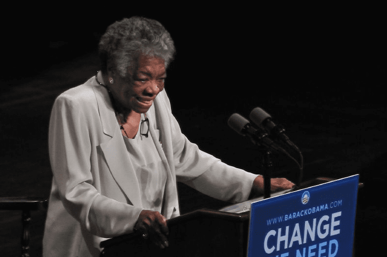 photo of Maya Angelou giving a speech during the Barack Obama 2008 presidential campaign, 18 September 2008