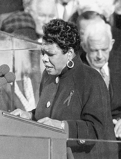 "photo of Maya Angelou reciting her poem ""On the Pulse of Morning"" at President Bill Clinton's inauguration, 19 January 1993"