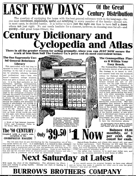 ad for the Century Dictionary, Cyclopedia and Atlas, Plain Dealer newspaper advertisement 22 October 1907