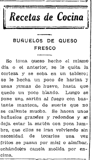 recipe for Buñuelos de Queso Fresco, Prensa newspaper article 28 December 1925