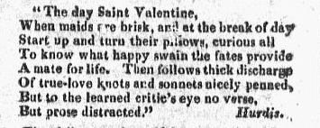 a love poem, Providence Patriot newspaper article 7 February 1818
