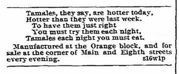 tamales for sale ad featuring a poem about tamales, Riverside Independent Enterprise newspaper advertisement 24 September 1893