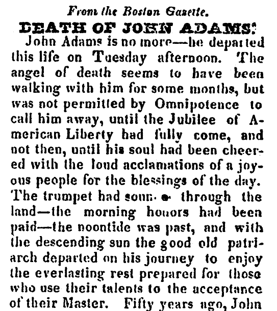 Death of John Adams, Salem Observer newspaper article 8 July 1826