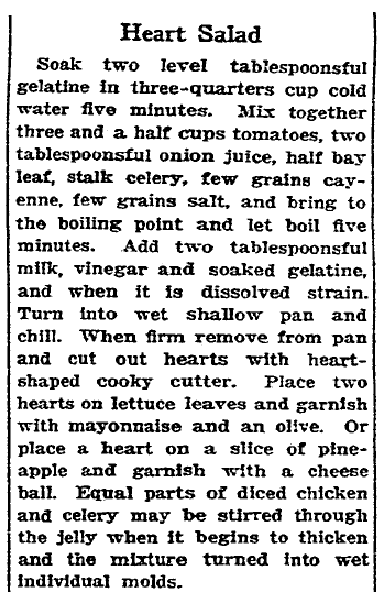 recipe for a Valentine's Day heart-shaped salad, San Francisco Chronicle newspaper article 11 February 1928