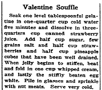 recipe for a Valentine's Day souffle, San Francisco Chronicle newspaper article 11 February 1928