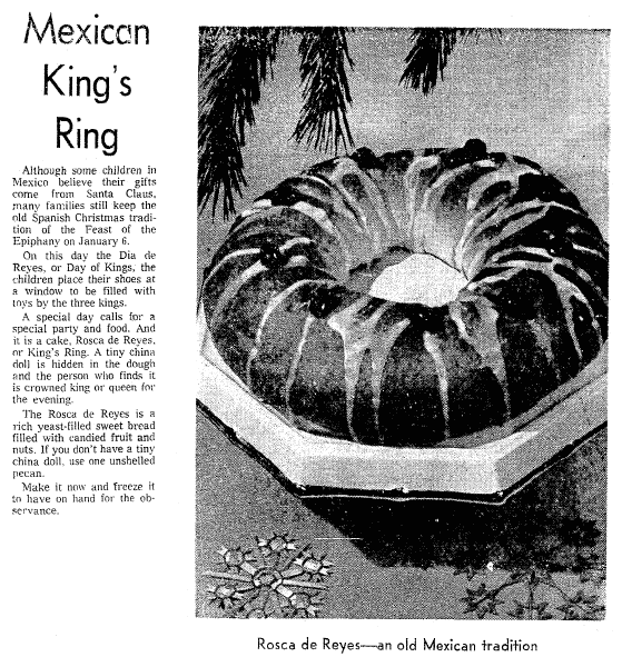 article about Rosca de Reyes including a recipe, Seattle Daily Times newspaper article 8 December 1971