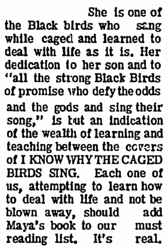 article about Maya Angelou, Soul City Times newspaper article 8 October 1970