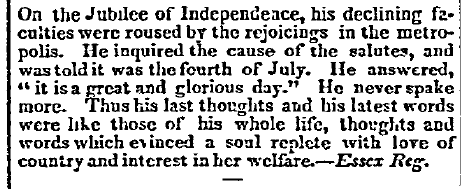 article about John Adams's last words, Spectator newspaper article 14 July 1826