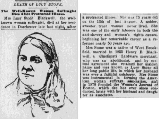 obituary for Lucy Stone, Springfield Republican newspaper article 19 October 1893