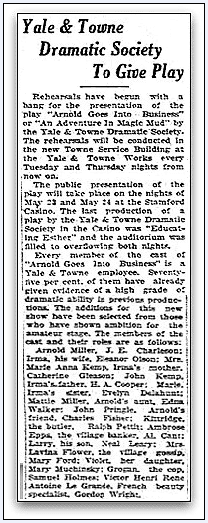 Yale & Towne Dramatic Society to Give Play, Stamford Advocate newspaper article 1 May 1929