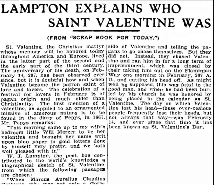 article about St. Valentine, Trenton Evening Times newspaper article 14 February 1913