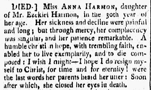 obituary for Anna Harmon, Vermont Gazette newspaper article 24 January 1804