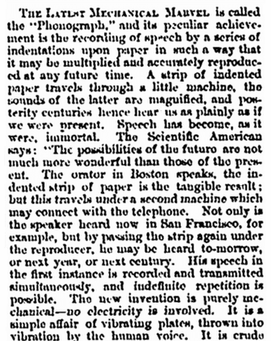 article about Thomas Edison inventing the phonograph, Vermont Phoenix newspaper article 20 November 1877