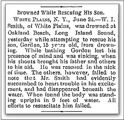 article about W. Isaac Smith drowning while trying to save his son, Watertown Daily Times newspaper article 24 June 1895