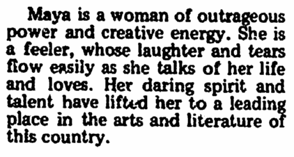 article about Maya Angelou, Wichita Times newspaper article 18 November 1976