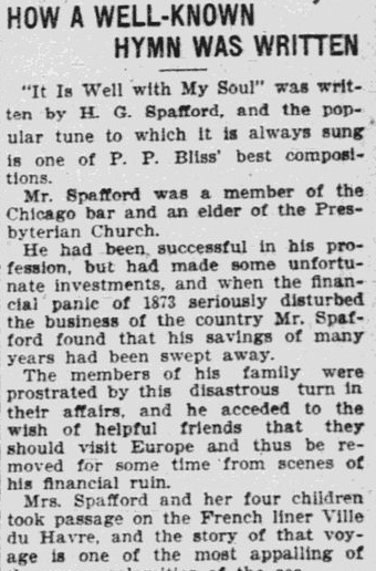 "article about Horatio Spafford writing the hymn ""It Is Well with My Soul,"" Worcester Daily Spy newspaper article 6 November 1902"