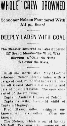 "article about the shipwreck of the schooner ""Nelson,"" Anaconda Standard newspaper article 15 May 1899"