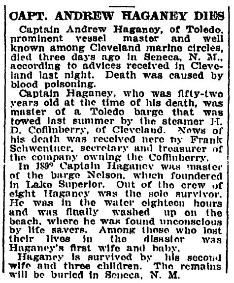 obituary for Andrew Hagney, Cleveland Leader newspaper article 23 February 1912