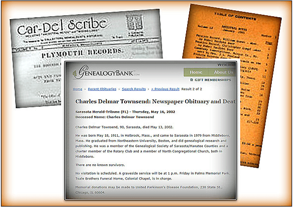 a collage of genealogical records including the obituary for Charles Townsend
