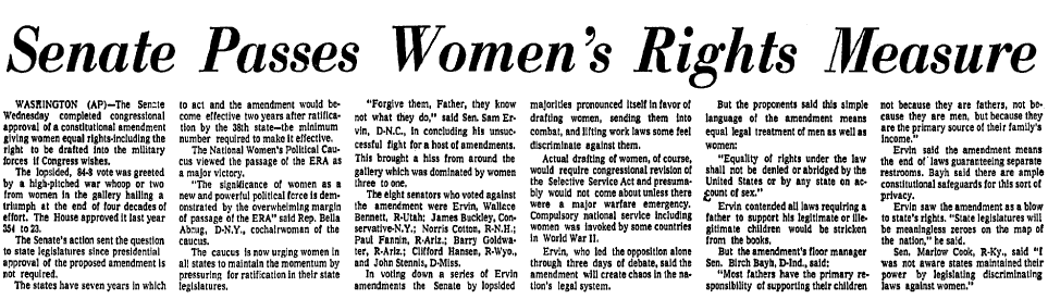 Senate Passes Women's Rights Measure, Dallas Morning News newspaper article 23 March 1972