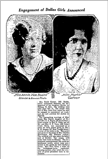 engagement announcements, Dallas Morning News newspaper article 4 October 1931