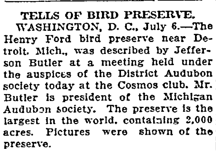 article about Henry Ford's bird preserve in Michigan, Duluth News-Tribune newspaper article 7 July 1912