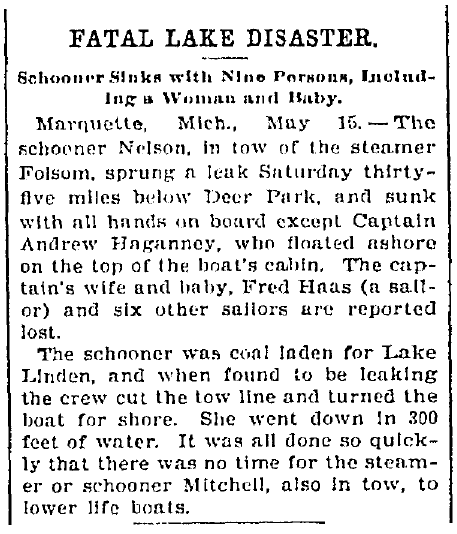 "article about the shipwreck of the schooner ""Nelson,"" Elkhart Weekly Review newspaper article 17 May 1899"