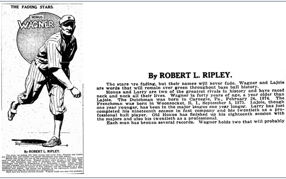 article by Robert Ripley about Honus Wagner and Larry Lajoie, Evening Star newspaper article 18 October 1914