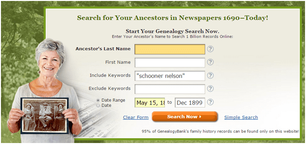 "screenshot of GenealogyBank's search box showing a search for the schooner ""Nelson"""