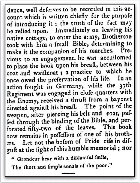 obituary for John Brotherton, Hampshire Gazette newspaper article 22 November 1809