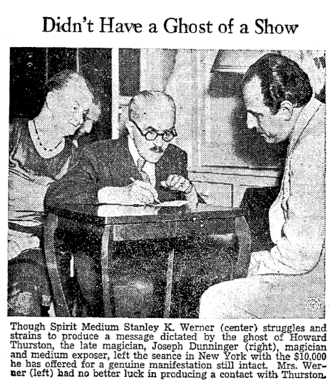 photo of a séance, Heraldo de Brownsville newspaper article 22 July 1937