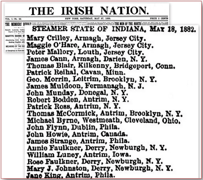 Irish immigrants passenger list, Irish Nation newspaper article 27 May 1882
