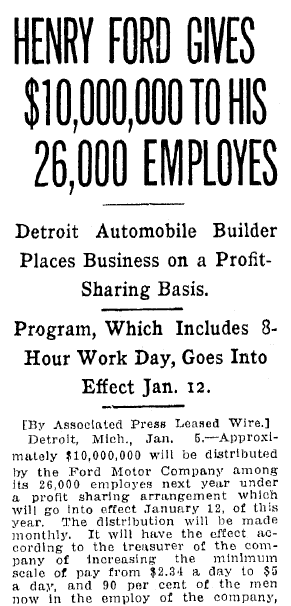 Henry Ford Gives $10,000,000 to His 26,000 Employees, Jackson Citizen Patriot newspaper article 5 January 1914