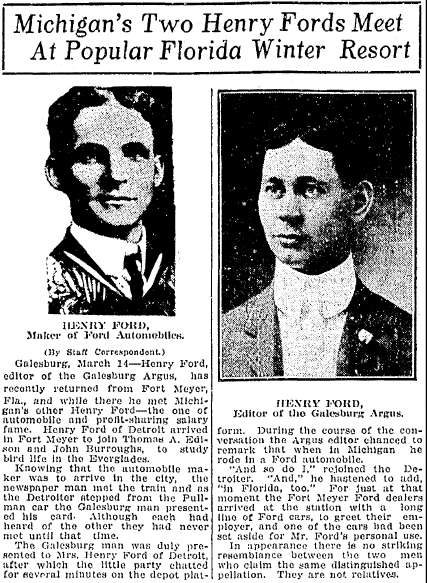 Michigan's Two Henry Fords Meet at Popular Florida Winter Resort, Kalamazoo Gazette newspaper article 15 March 1914