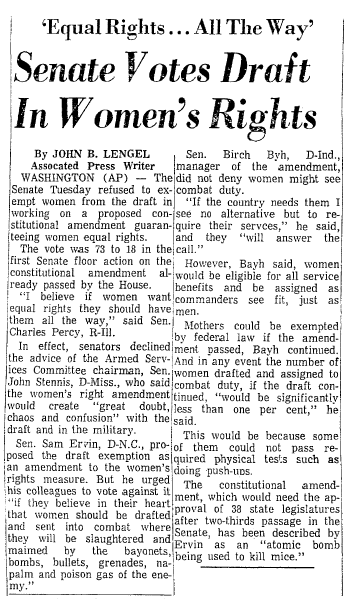Senate Votes Draft in Women's Rights, Mobile Register newspaper article 22 March 1972