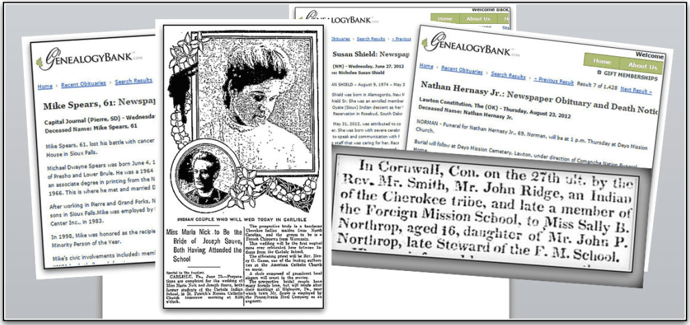 montage of newspaper articles about Native Americans