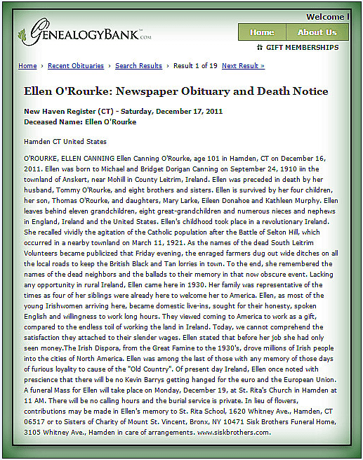 obituary for Ellen O'Rourke, New Haven Register newspaper article 17 December 2011